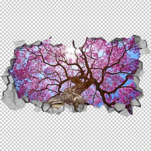 Efeito 3D para Teto Árvore de Cerejeira Detalhe