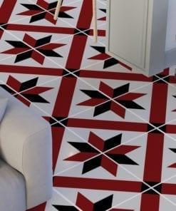 Azulejo Tradicional Francês Vermelho e Preto Autocolante - Chão