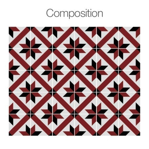 Azulejo Tradicional Francês Vermelho e Preto Autocolante - Composição