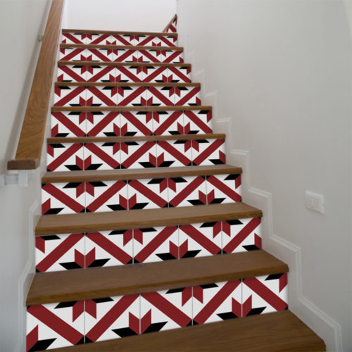 Azulejo Tradicional Francês Vermelho e Preto Autocolante - Escadas