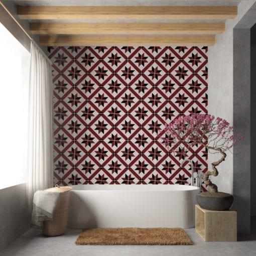 Azulejo Tradicional Francês Vermelho e Preto Autocolante - Parede 1