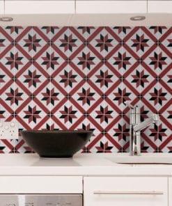 Azulejo Tradicional Francês Vermelho e Preto Autocolante - Parede