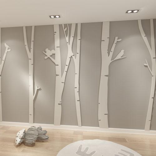 Bosque de Bétulas Decoração Parede 3D