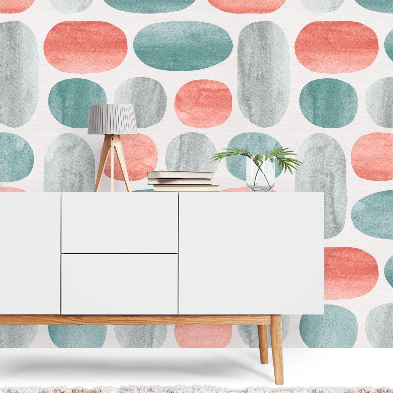 Coral e jade papel de parede decora o - Papel paredes ikea ...