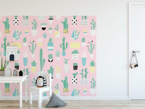 Padrão Cactus Infantil Tecido Mural Decorativo