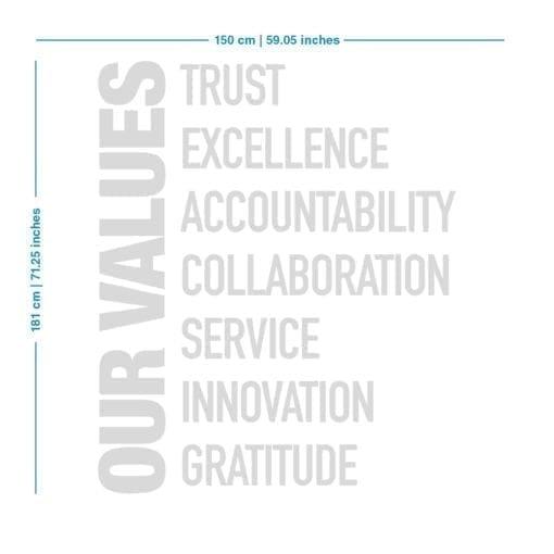 Our Values Decoração Escritório - Dimensões
