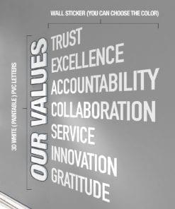 Our Values Decoração Escritório - Aplicação