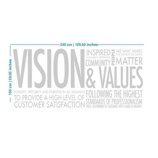 Vision & Values Decoração Escritório 3D - Dimensões