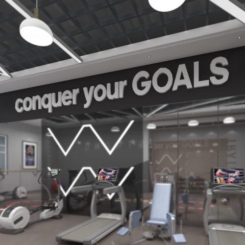Conquer your Goals Decoração 3D para Ginásio