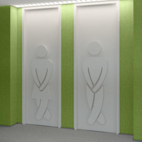 Sinal de Casa de Banho Decoração 3D