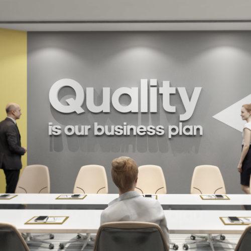 Quality is Our Business Plan Decoração Escritório