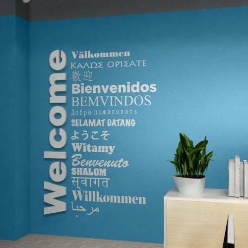 Welcome Multilingue Decoração Escritório 3D