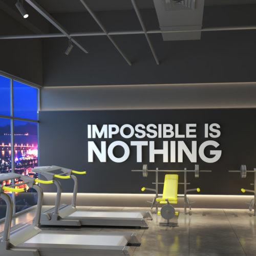 Impossible Is Nothing Decoração 3D para Ginásio